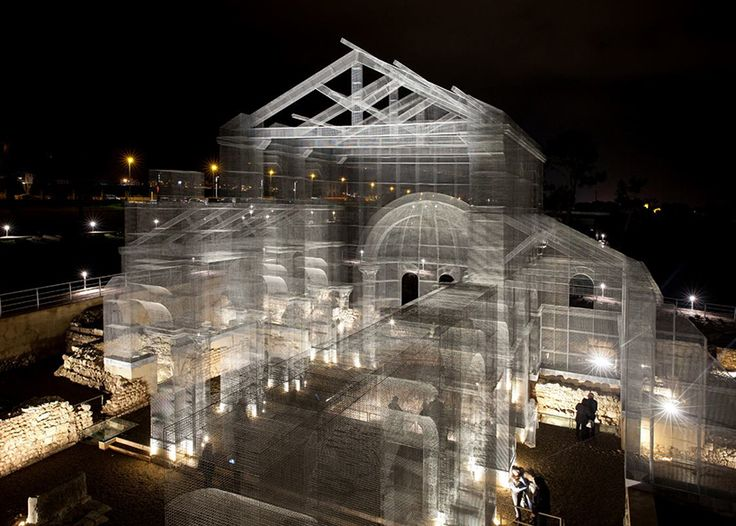 on the site of an ancient church in puglia, edoardo tresoldi has built a monumental mesh installation that simulates the town's architectural quality.