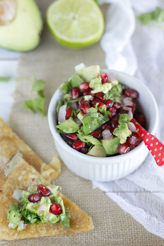 Pomegranate Avocado Salsa - delicious and healthy winter snack or appetizer from YummyMummyKitchen.com