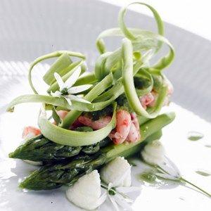 Grønne asparges med rejer