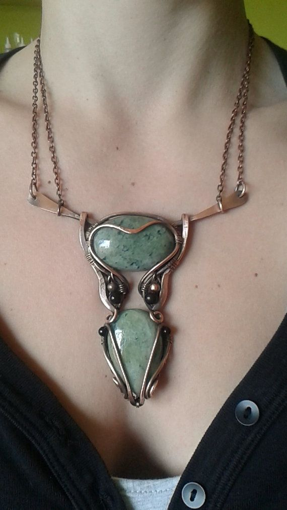 Copper wire wrapped necklace with natural green by Tangledworld