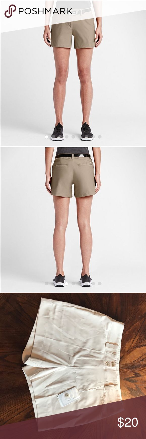 "Nike women's gold shorts NWT size 8 NWT! Nike Dry-fit golf shorts ""tournament"" style.  Flat front, light khaki color size 8 :) Nike Shorts"