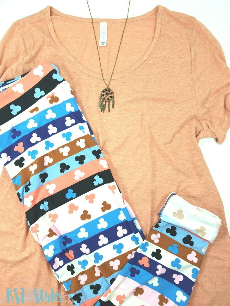 This peach LuLaRoe Classic is a perfect match to these leggings from the LuLaRoe Collection for Disney! Cuff the leggings and add a cute necklace for a great summertime look. Join my FB community for all the current Disney Collection releases!