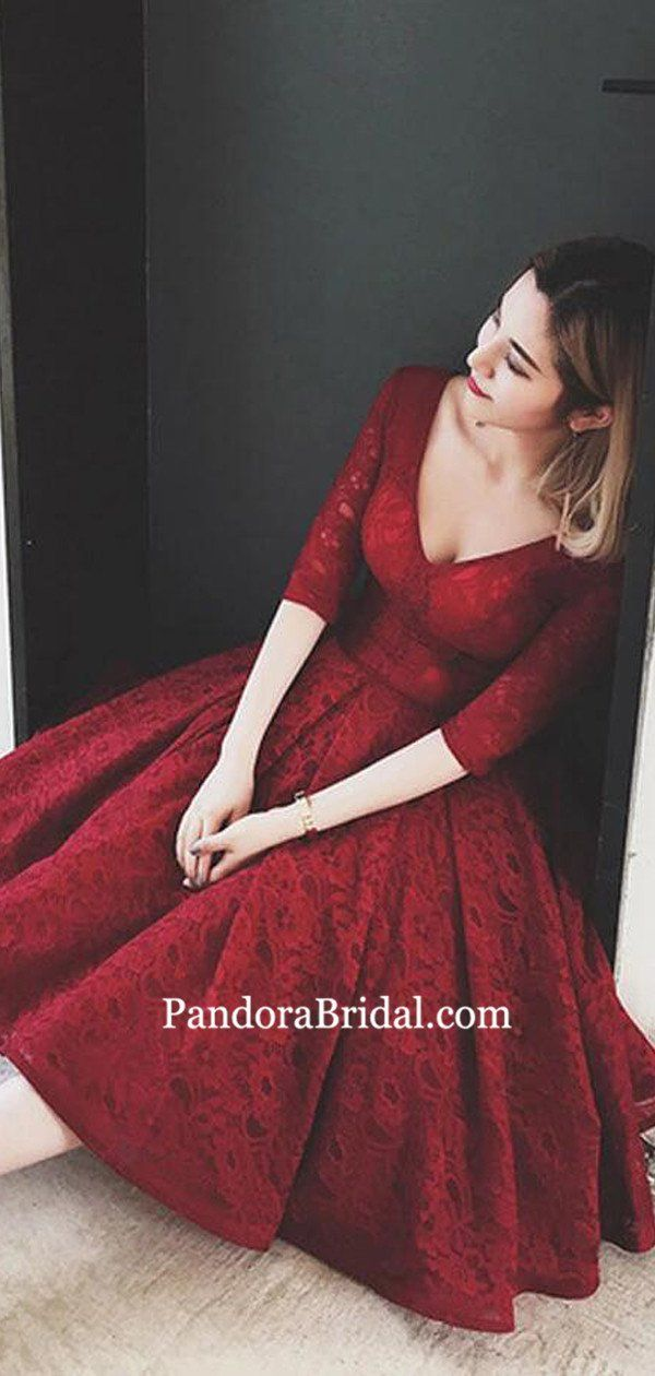 Charming Burgundy V-Neck Half Sleeve Lace Homecoming Dresses, 2019 Homecoming Dr…