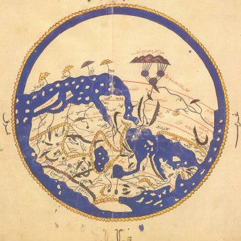 "al-Idrisi's world map, oriented with South at the top, in the Arabic Geographical book ""The Entertainment for he who longs to travel the world"", dated 1154. ""Most early Islamic world maps were oriented this way because many of the communities that first converted to Islam in the seventh and eighth centuries lived directly north of Mecca, leading them to regard south as the correct direction of prayer. The earth is encircled by sea and surrounded by fire, an idea taken from the Koran."""