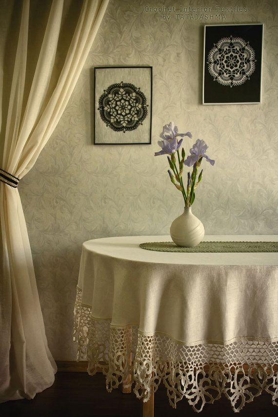 Linen tablecloth LUNA LUXURY with crochet lace border Oval