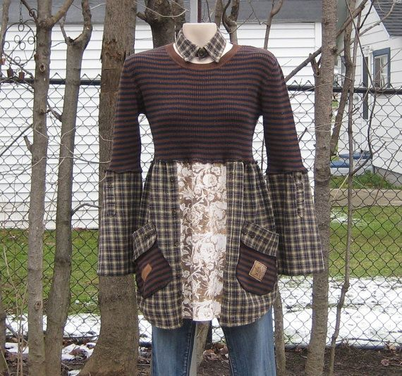 Cotton sweater with brown and navy stripes used for the bodice of this long, comfy tunic. The hem is from a mens flannel shirt with some floral