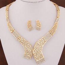 Moda joyería africana fija Piercing Collares Pendientes geométrica Maxi nupcial Collares + Pendientes oro plata Boho Joyeria(China (Mainland))