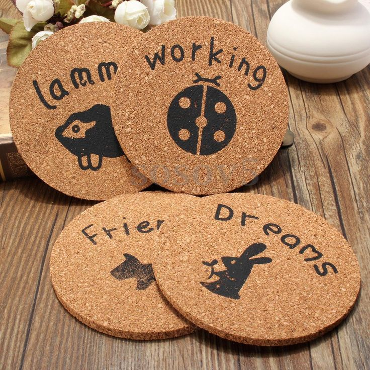 4Pcs Cork Wood Drink Coaster Kitchen Table Decor Placemat Tea Coffee Cup Mat Pad