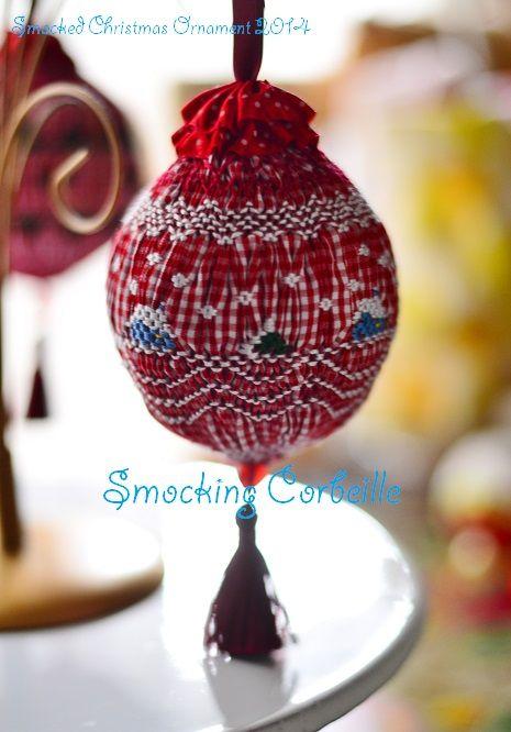 Smocked Christmas Ornament 2014 ~Smocking Corbeille,Tokyo,Japan Used ...