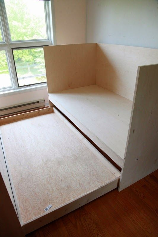 Last week, we built two daybeds with trundles for the cottage. The beds are styled after Donald Judd's daybed design.  Apparently...