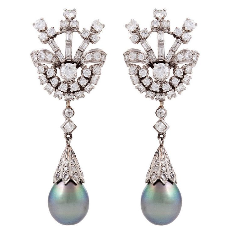 Tahitian Pearl, Diamond Platinum Earrings
