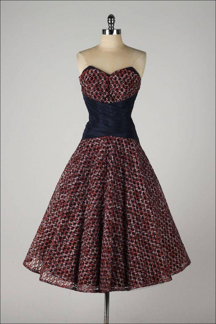 Vintage 1950's Woven Ribbon Strapless Dress