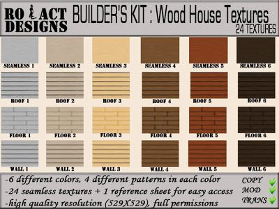 ..::RO!ACT::..DESIGNS Builder's Kit: 24 Wood House Textures Full Perms