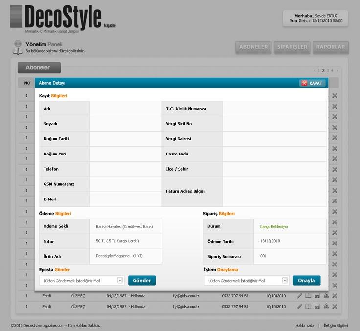 web design admin page