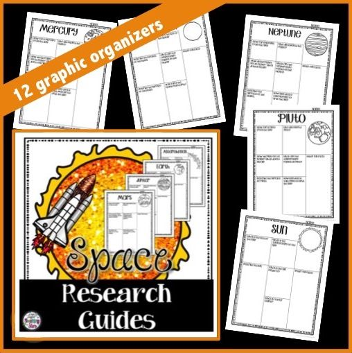 Space Research Posters includes 12 graphic organizers that guide your students through research. Students will collect information on space topics as they learn about different planets. No-Prep just Print!  Pages Include: Asteroid Belt, Earth, Jupiter, Mars, Mercury, Earth's Moon, Neptune, Pluto, Saturn, Sun, Uranus, & Venus.