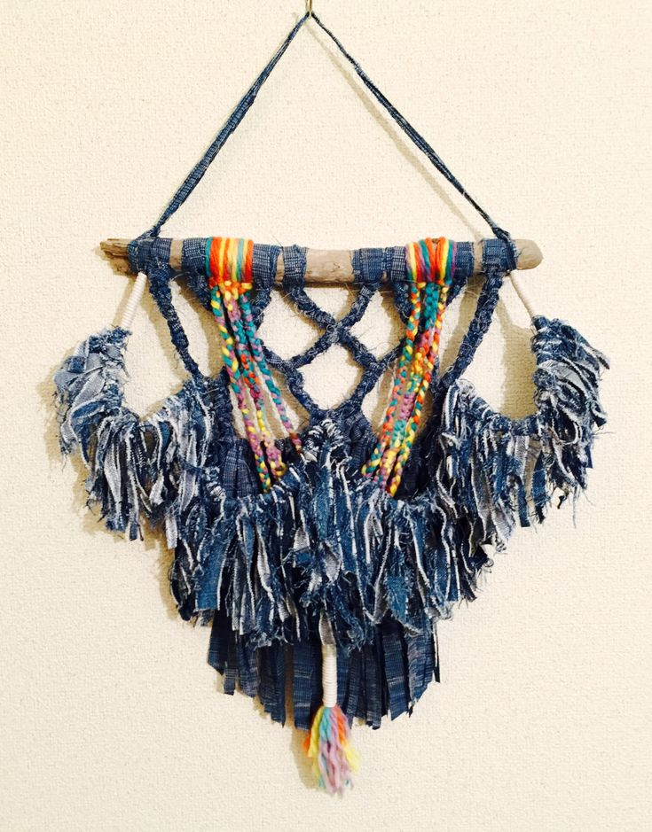 Upcycle Macrame Wall Hanging Denim Kimono Telares