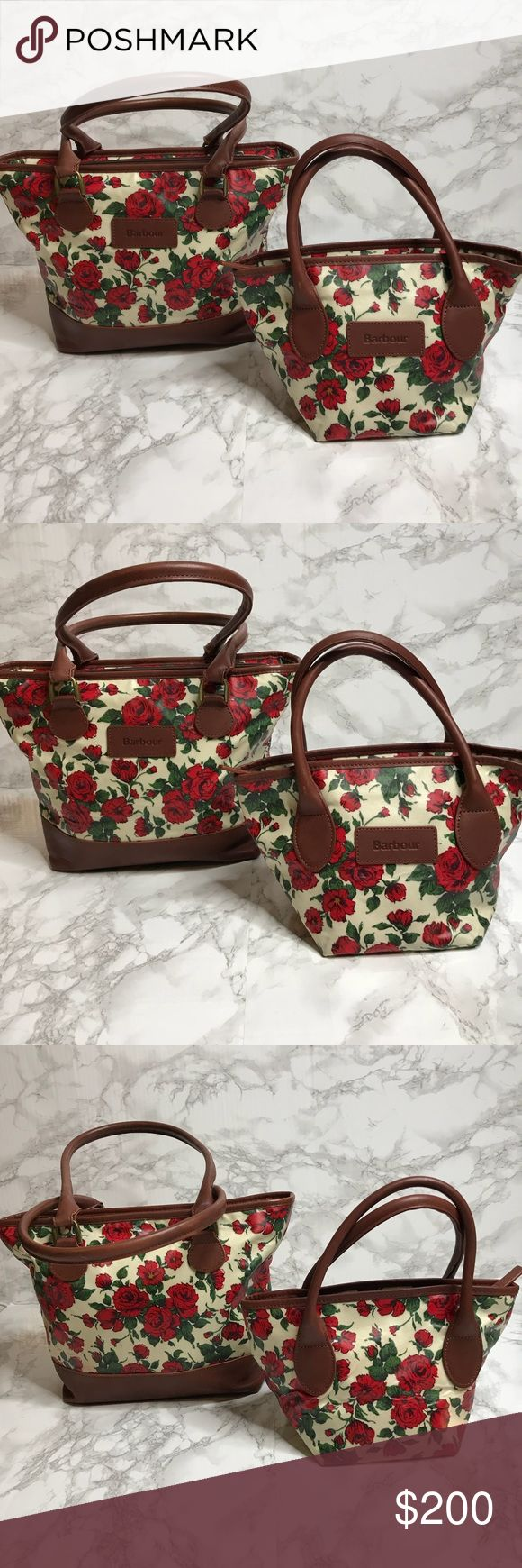 "Barbour Wax and Leather Floral Shoulder Bags Set of 2! Gently used and in very good condition! Measurements: large is 14"" x 10"" x 4"" and small is 11"" x 7"" x 6"" Barbour Bags Shoulder Bags"