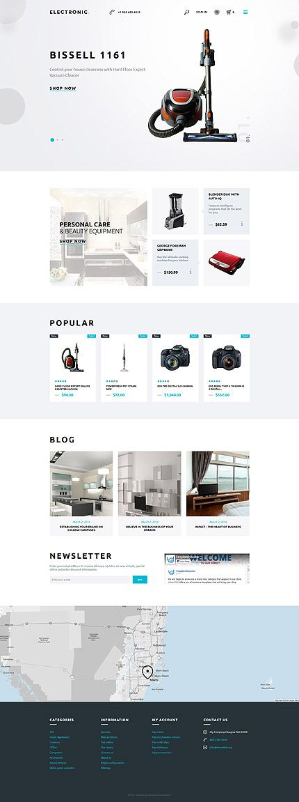 Electronics website inspirations at your coffee break? Browse for more PrestaShop #templates! // Regular price: $139 // Sources available: .PSD, .PHP, .TPL #Electronics #PrestaShop