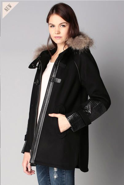 Manteau trapèze noir capuche fourrure Heden 2two prix Manteau Femme Monshowroom 255.00 €