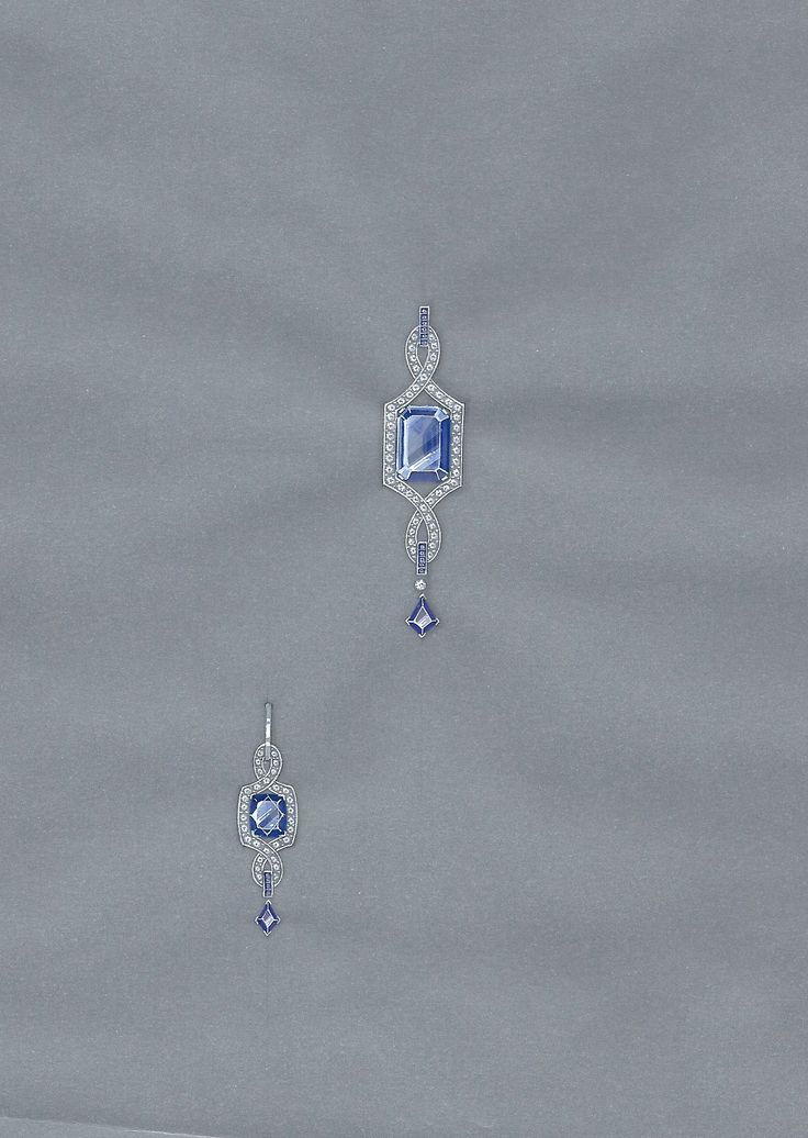Jewellery working drawing in gouache for a tanzanite pendant with matching earrings
