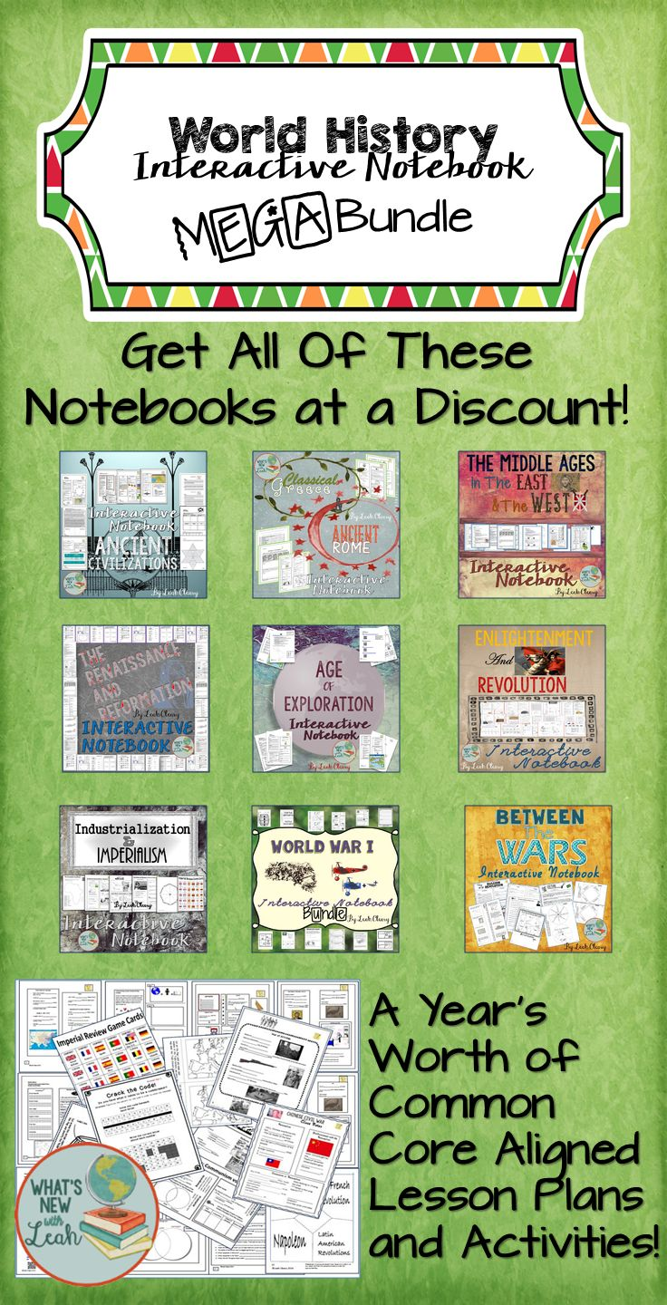 All of my World History Interactive Notebook Bundles - Discounted MEGA Bundle-Plus, 2 more notebooks coming. If you purchase this now, when I add them—you'll get them at no additional charge!