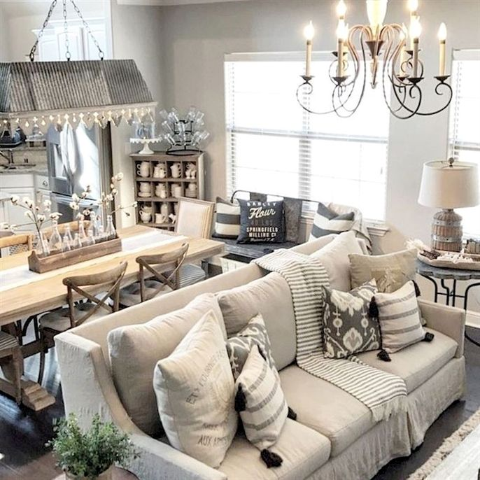 40 cozy modern farmhouse living room decor ideas #CozyLivingRooms