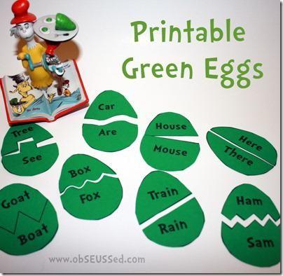 Dr Seuss Literacy Preschool Printable for rhyming