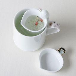 White Porcelain Mug and Strainer Set with Bird Design