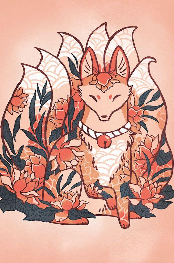 Flower Fox Kitsune card, anniversary, valentines day card, greeting card, stationary