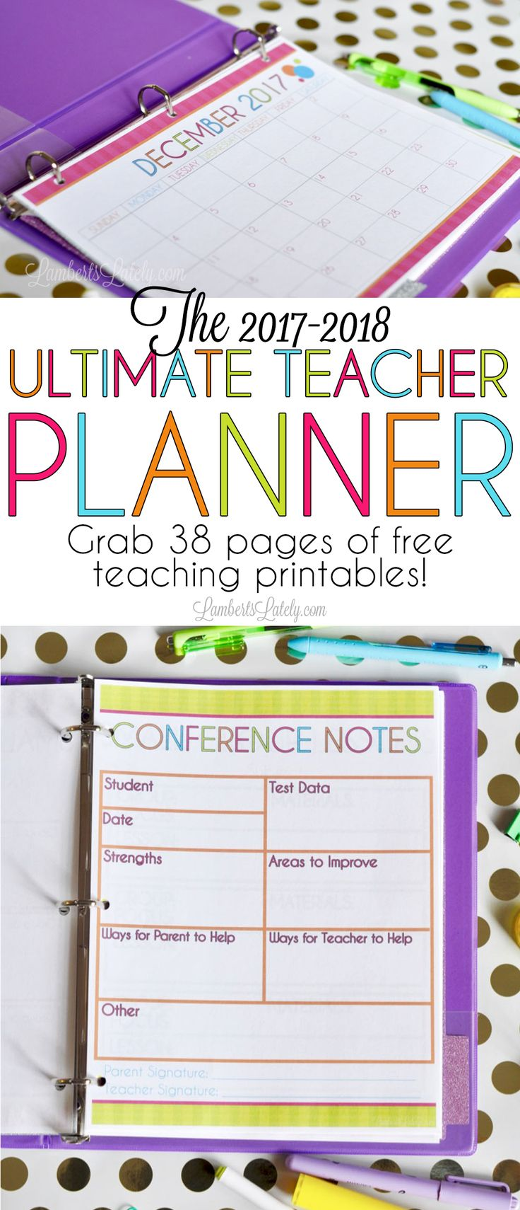 I love this bright and colorful 2017-2018 printable teacher planner!  It has so many useful pages, like a grade tracker, weekly/monthly calendars, lesson plans, and small group tracker (all with pretty bright & colorful striped backgrounds).  The best part is this template is free!