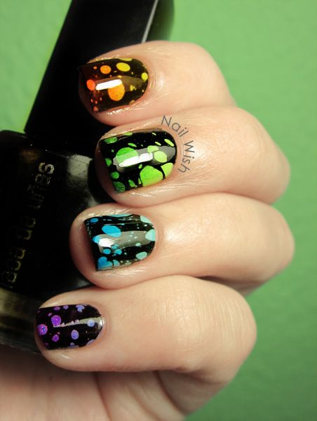 [webbed dots via modified water marbling technique]