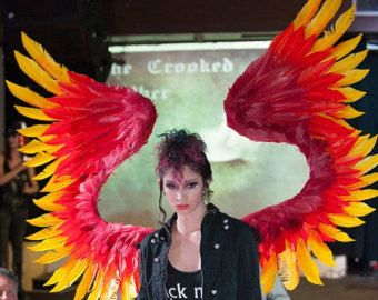 tri colored custom costume cosplay feather wings phoenix costumefairy wingshalloween - Halloween Costumes In Phoenix