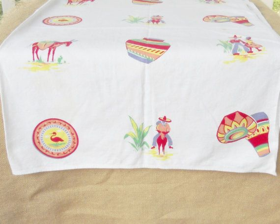 Vintage Retro/Southwestern Tablecloth by HomespunQuiltsVA on Etsy, $30.00