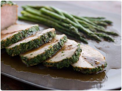Herb Crusted Pork Loin with Grilled Asparagus