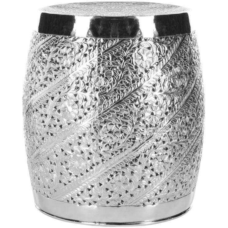 Nickel Plated Garden Stool With An Etched Floral Motif. Product: Garden  Stool Construction Material: AluminumColor: NickelFeatures: Contemporary ...