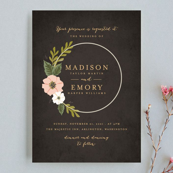 sending wedding invitations months before%0A   Floral Ring    Customizable Wedding Invitations in Black by Karidy Walker