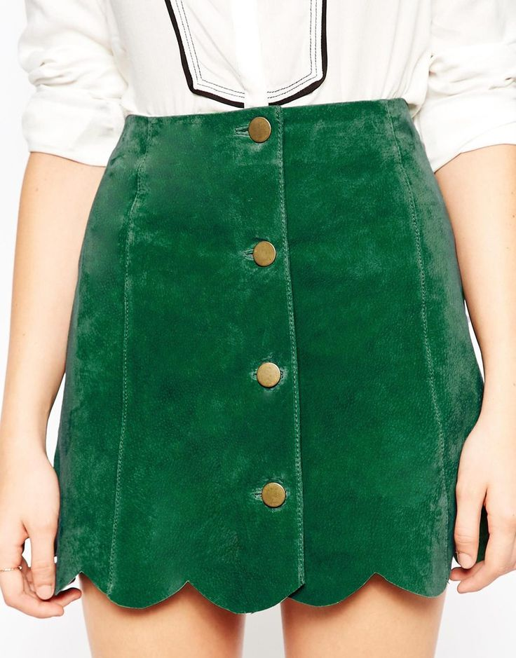 Image 3 of ASOS Suede A Line Skirt With Button Through And Scalloped Hem