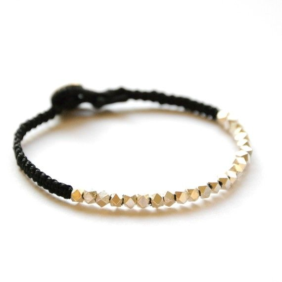 Woven silver bead bracelet  -New Chunky Fine Silver faceted Friendship bracelet -on Black waxed Irish linen cord on Etsy, $65.00