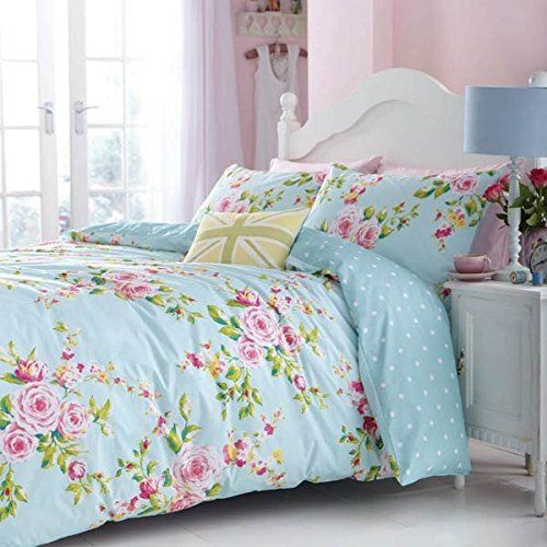 canterbury duck egg floral duvet cover by catherine lansfield canterbury is a duck egg blue duvet with pastel pink roses u0026 green foilage