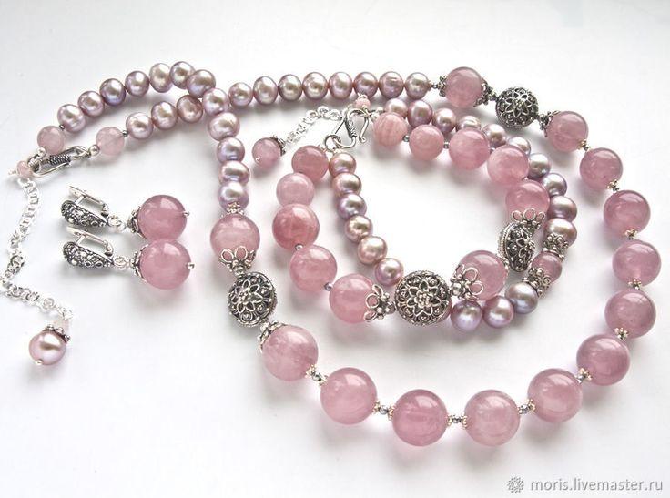 """Купить Комплект из розового кварца """"Пыльная роза"""" жемчуг серебро - розовый, натуральные камни"""