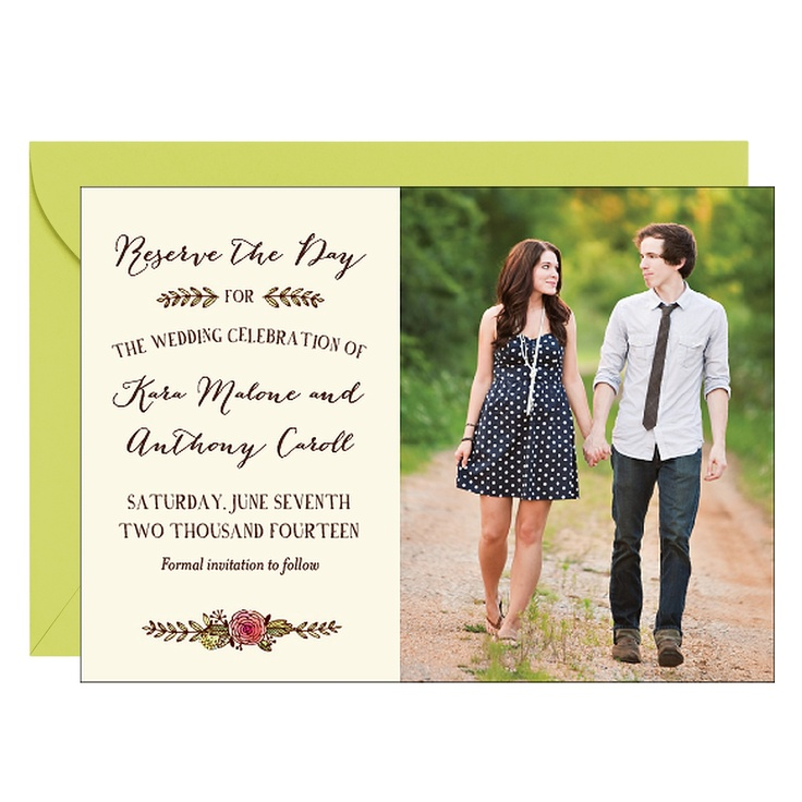 Watercolor Laurel Photo Save the Date