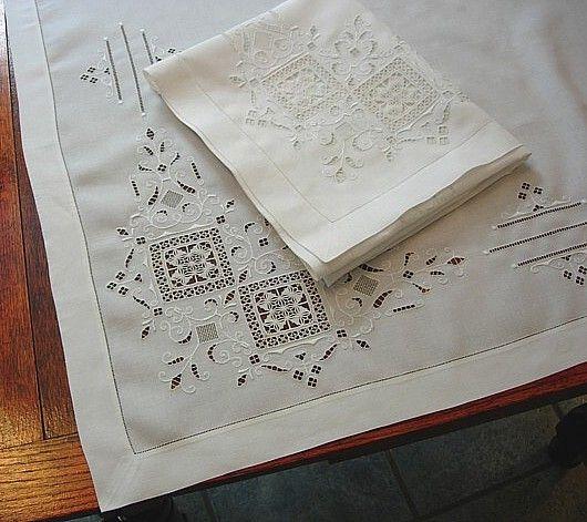Em's Heart Antique Linens -Antique Italian Linen Embroidered Sheet Shams Set