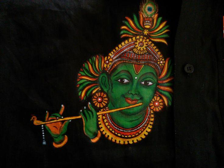 Krishna in black bg mural pinterest kerala art and for Mural radha krishna