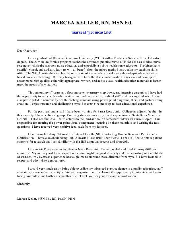 marcea keller msn edrcea comcastdear recruiter leading professional perioperative nurse cover letter examples