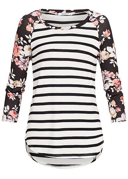 Seventyseven Lifestyle Damen 3/4 Arm Shirt Streifen Blumen Muster off weiss schwarz rot – 77onlineshop