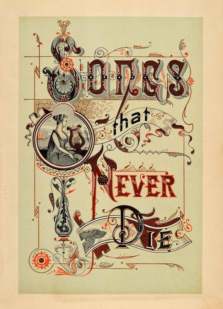1894 Lithograph Art Nouveau Songs That Never Die Music Lyre Harp RARE Decor Harp