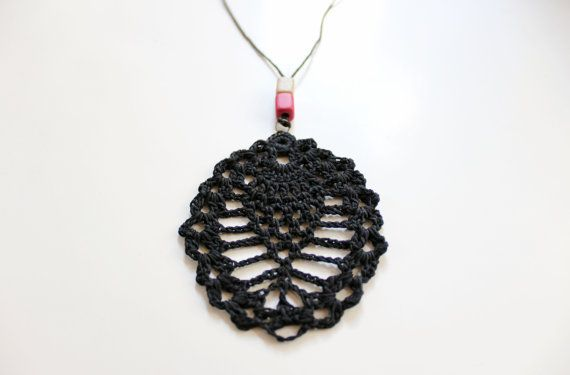 Long beaded necklaceblack cord necklace black by AlkistiKnits