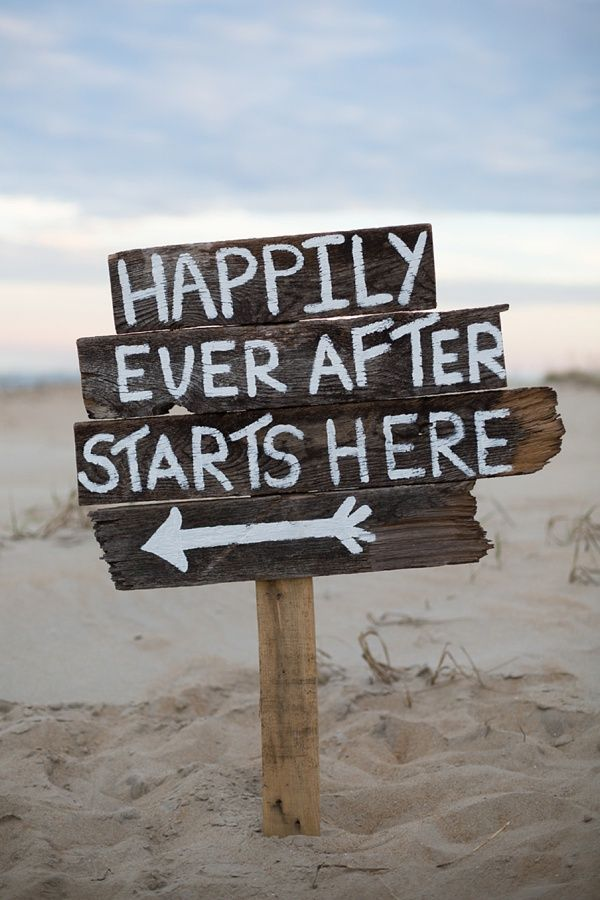 Beach wedding sign
