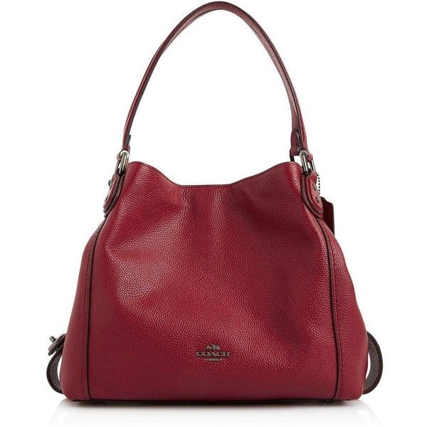 Coach Edie 31 Shoulder Bag (€400) ❤ liked on Polyvore featuring bags, handbags, shoulder bags, dark red, genuine leather handbags, coach shoulder bag, red purse, genuine leather shoulder bag and red shoulder bag