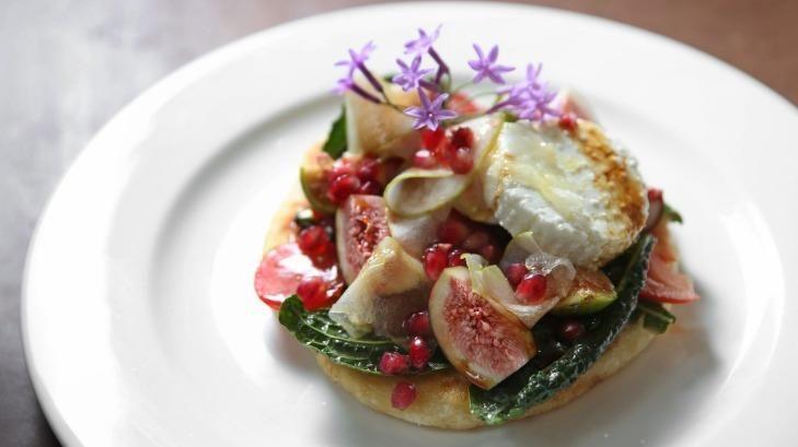Newcastle: Figs, pears, and yoghurt flat bread from popular breakfast spot Three Beans.
